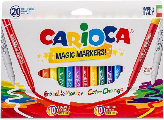 Набор перекрашивающих фломастеров CARIOCA MAGIC, 20 шт., в картонной коробке с европодвесом набор украшений елочных 8 см 6 шт в коробке стекло