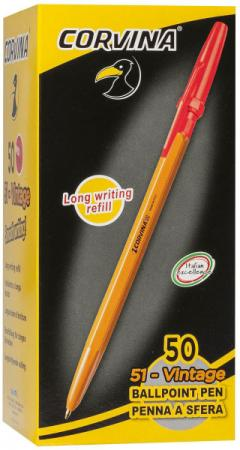 цена Ручка шариковая CARIOCA CORVINA 51, желтый корпус, 0,7 мм, красная 40383/03G/28311