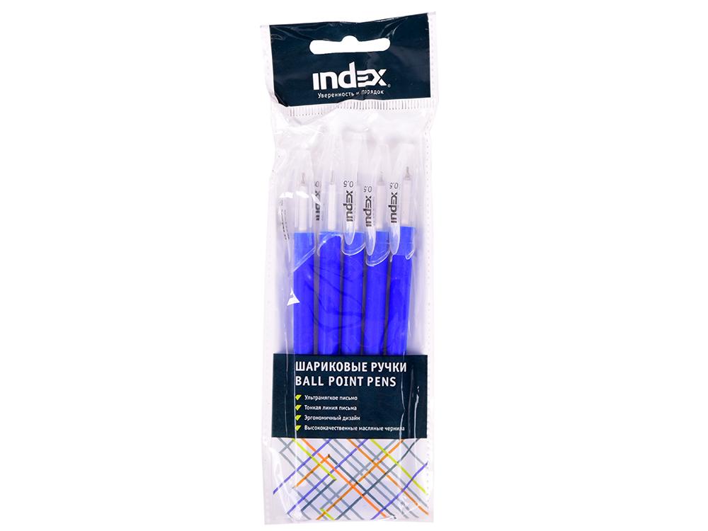 Картинка для Набор шариковых ручек Index 5 шт., 0,5 мм,  синие масляные чернила IBP4120/S5