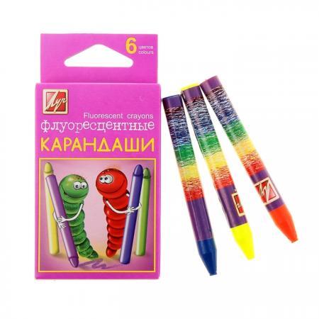 Масляные карандаши ЛУЧ Флуоресцентные 6 штук 6 цветов от 3 лет восковые карандаши луч зоо мини 12с865 08 12 штук 12 цветов от 5 лет