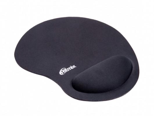 Коврик для мыши Ritmix MPD-040 Buble Black , 240*200*30mm, подставка под запястье, не скользит, ткань (хлопок), этиленвинилацетат, пенополиуретан