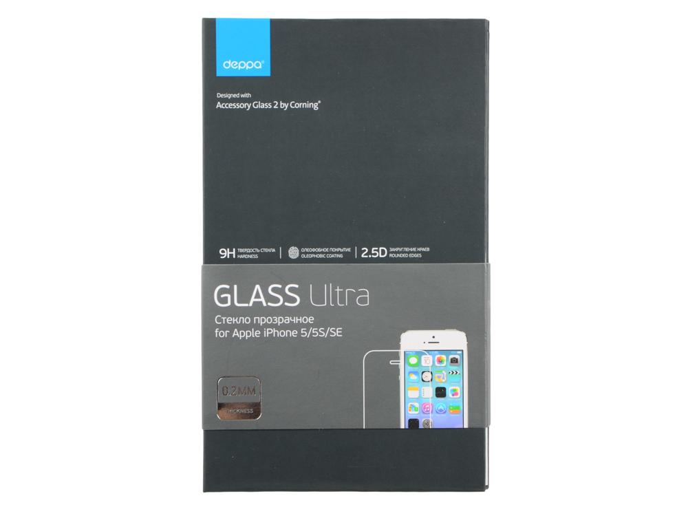 Защитное стекло Deppa Ultra для Apple iPhone 5/5S/5С/SE, 0.2 мм, прозрачное, 62365 deppa защитное стекло для apple iphone 6 plus прозрачное и рамка для легкой установки 0 2 мм