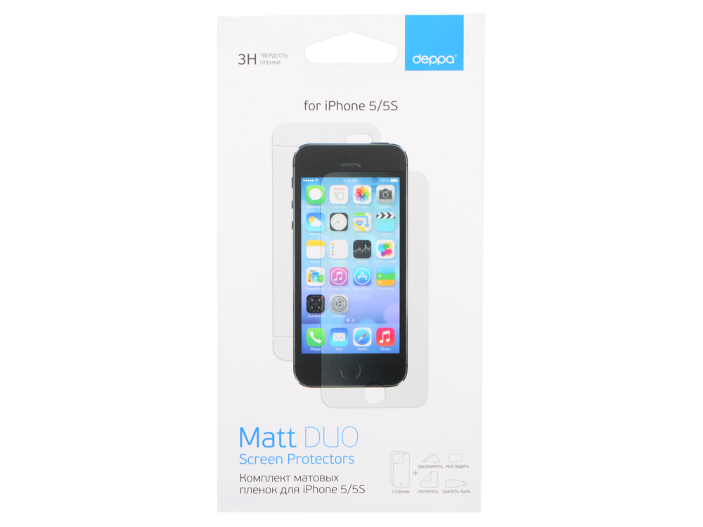 Комплект защитных пленок Deppa для Apple iPhone 5/5S/SE, матовые, 61229 стоимость