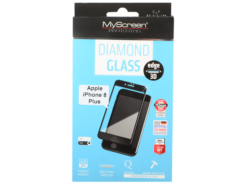 Пленка защитная lamel 3D закаленное защитное стекло MyScreen  DIAMOND Glass EA Kit Black iPhone 8P