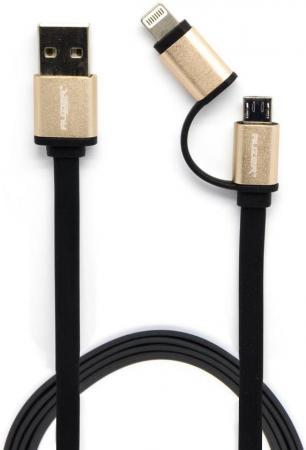 все цены на Кабель AUZER AC-D1BK 2 в 1 Lightning microUSB черный онлайн