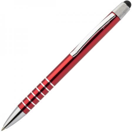 Авторучка шариковая, 1,0мм, красный мет. корпус, серебристые детали, со стилусом, синие чернила шариковая ручка автоматическая index серебристый мет клип красный пластиковый корпус синие масляны
