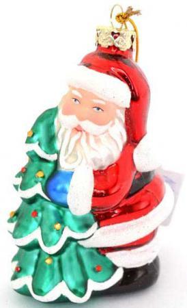 Елочные украшения Winter Wings Дед Мороз и Елка 10 см 1 шт стекло N07800 елочные украшения winter wings сосульки 13 см 3 шт пластик
