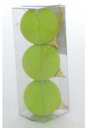 Набор украшений елочных ШАРЫ флокированные, 3 шт, 5,5 см, 5 цв , полимерный мат., в прозр кор цена и фото
