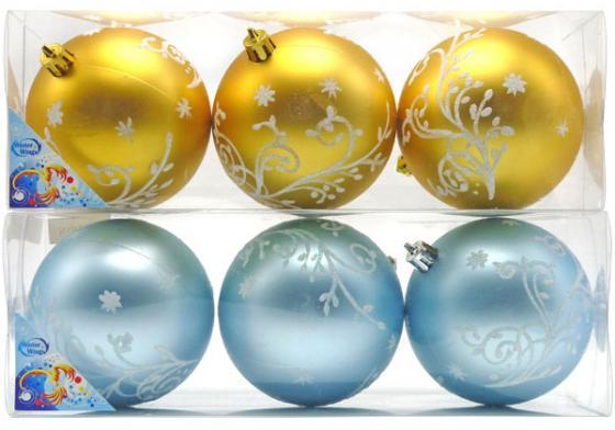 Картинка для Набор украшений елочных ШАРЫ РОСПИСЬ, 3 шт, 8 см, цвета - золотой, голубой