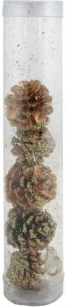 Шишки еловые с крошкой голограмма, 6 см, 5 шт.