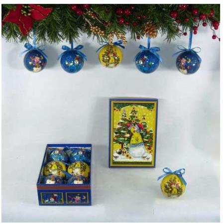 Фото - Набор шаров блестящих СНЕГОВИКИ, 6 шт. в подарочной коробке, 7,5 см набор шаров блестящих крайний север 6 шт в подарочной коробке 5 6 7 5 см