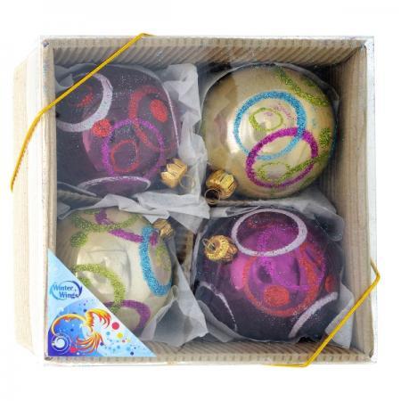 Набор шаров ЖЕМЧУЖНЫХ разноцветных, 4 шт. в картонной коробке, 7 см, 2 цв. тарелка семейный завтрак у пирата 22 5 19 4 2 2 см цв уп 1018899