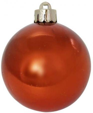 Шар блестящий, 6 см, оранжевый, 1 шт. в прозрачной коробке набор украшений елочных 8 см 6 шт в коробке стекло