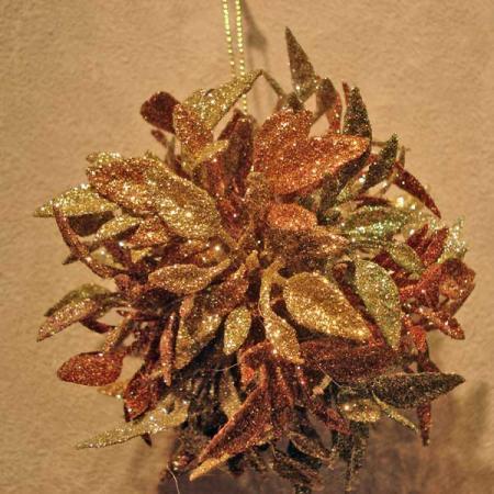 Шар ЦВЕТЫ, блестящая крошка, 8 см, 1 шт. в прозрачной коробке, 3 цв., серебристый, золотистый, красн