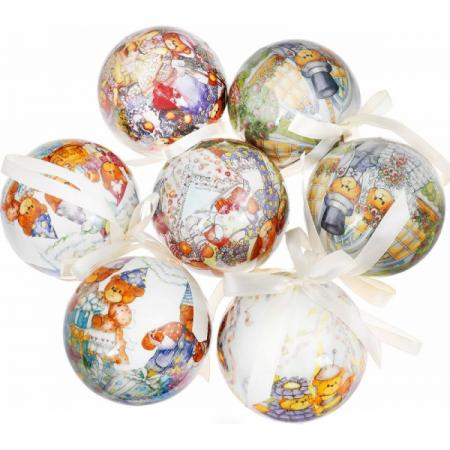 Набор шаров МИШКИ, 7,5 см, 7 шт. в подар.кор., пластик цена и фото
