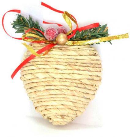 Украшение елочное СЕРДЦЕ СОЛОМКА, 1 шт, 7*8 см, полимерный мат., в пакете украшение елочное колокольчик новый год 7 8 см полирезин 1 шт в пак
