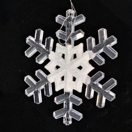 Елочные украшения Winter Wings Снежинка 9.5 см 2 шт белый пластик N180013 цена
