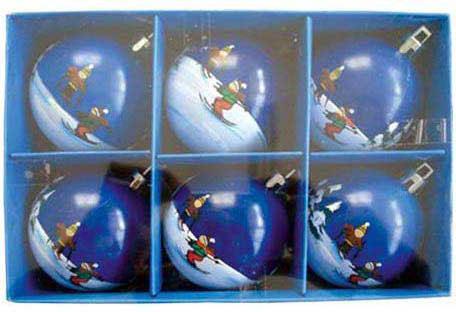 Шар матовый с ручной росписью ЛЫЖНИК, 6 шт., 6 см, 4 цв. игра мозаика с аппликацией медовая сказка d10 d15 d20 105 5 цв 6 аппл 2 поля