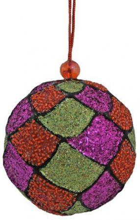 Шар блестящая крошка, бисер, 1 шт., 8 см, 1 цв. украшение декоративное снежинка блестящая крошка 1 шт в прозрачном пакете 27 см 6 цв