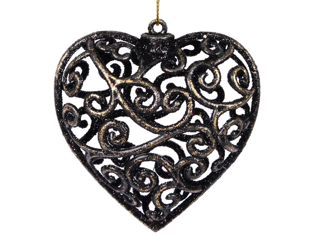 Украшение елочное сердце барокко, 1 шт,