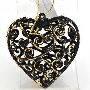 Украшение елочное СЕРДЦЕ БАРОККО, 1 шт, 8*8 см, черный/золотой, в пакете елочное украшение телефон цвет cиний 8 см