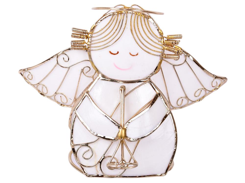 Украшение елочное Ангел, 9*8 см, перламутр, металл цена
