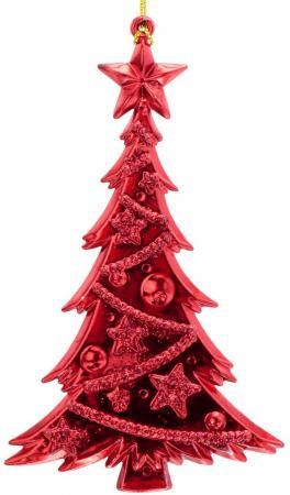 Украшение елочное ЕЛКА блестящая с инеем, 15 см, красн. ель искусственная елка от белки с инеем лидия