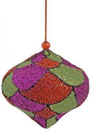 Украшение елочное ЛУКОВИЦА, блестящая крошка, бисер, 1 шт., 10 см, 1 цв. украшение елочное дождик нарезанный 40 г 1 шт 1 шт в пакете пластик 2 цв пластик