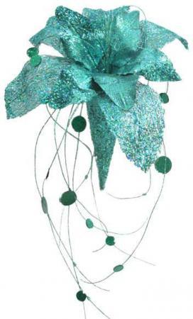 Украшение декоративное ВОЛШЕБНЫЙ ЦВЕТОК БИРЮЗОВЫЙ , 35 см,пластик