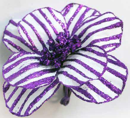 Украшение декоративное ЦВЕТОК ПОЛОСКА, 16 см,пластик, фиолетовый украшение winter wings цветок полоска фиолетовый 16 см 1 шт n069868 ф