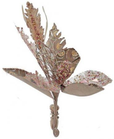 Украшение декоративное ЦВЕТОК, с блестящей крошкой, 14 см, 1 цв. 1