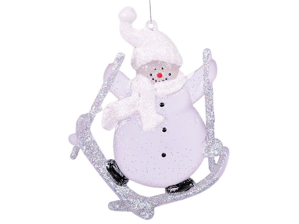 Украшение декоративное Снеговик прозрачный, 6 см, 1 шт. украшение luazon снеговик blue 1351712
