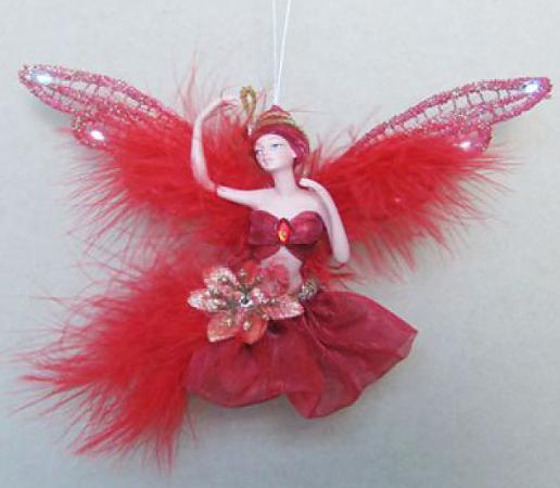 Украшение декоративное ФЕЯ, в красном платье, 15 см, полирезин