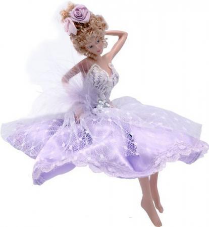 Украшение декоративное ФЕЯ, в лиловом платье, 15 см, полирезин