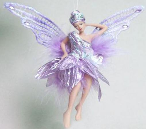 Украшение декоративное ФЕЯ, в светло-фиолетовом платье, 15 см, полирезин