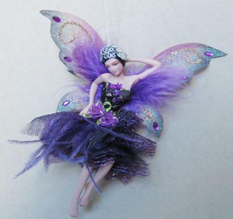 Украшение декоративное ФЕЯ, в темно-фиолетовом платье, 15 см, полирезин