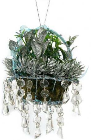 Украшение декоративное ЦВЕТОЧНАЯ КОРЗИНА С ПОДВЕСКАМИ, 15 см, полирезин, пластик cms 33 10муз композиция цветочная корзина pavone