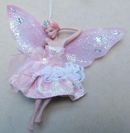 Украшение декоративное ФЕЯ, в светло-розовом платье, 15 см, полирезин