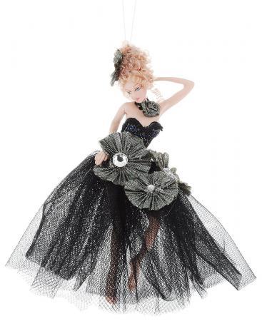 Украшение декоративное ФЕЯ, в черном платье, 15 см, полирезин