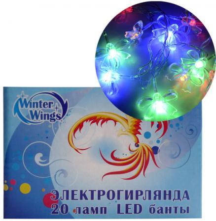 Гирлянда электрическая LED БАНТЫ, 20 ламп, разноцветные электрогирлянда большие разноцветные мультишарики 100 led ламп snowhouse