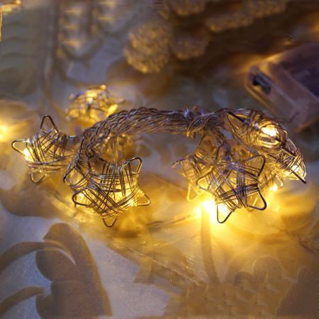 Гирлянда электрическая LED ЗВЕЗДЫ на батарейках, 90 см, 10 ламп фонарь led на батарейках 20х20х31 см