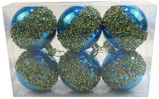Набор шаров Новогодняя сказка 972914 8 см 6 шт голубой пластик