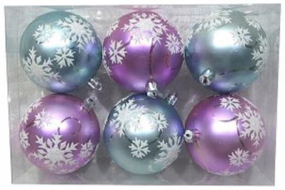 Набор шаров Новогодняя сказка 972913 8 см 6 шт разноцветный пластик