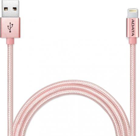 Кабель A-Data Lightning-USB для iPhone iPad iPod 1м розовое золото AMFIAL-100CMK-CRG зарядное устройство soalr 16800mah usb ipad iphone samsug usb dc 5v computure