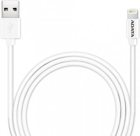 Кабель A-Data Lightning-USB для iPhone iPad iPod 1м белый AMFIPL-100CM-CWH кабель konoos usb 1м для iphone 5 iphone 6 ipod ipad 8pin lightning черный kc a2usb2nbk