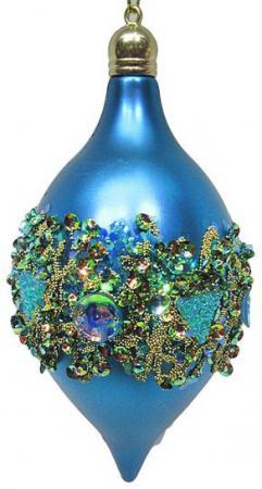 Елочные украшения Новогодняя сказка Капля в кристаллах 7*14 см 2 шт голубой пластик 972921