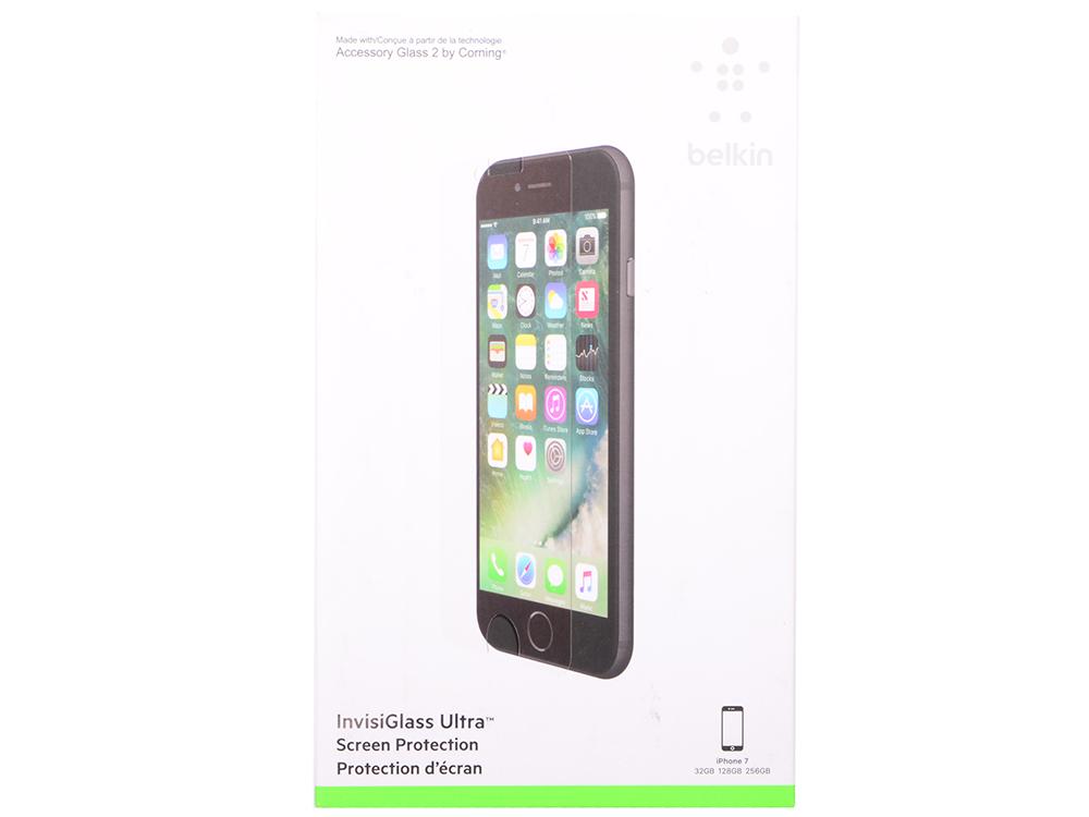 Защитная плёнка прозрачная Belkin InvisiGlass Ultra для iPhone 7 F8W761DSAPL защитная плёнка прозрачная belkin anti glare для iphone 7 plus f8w762dsapl