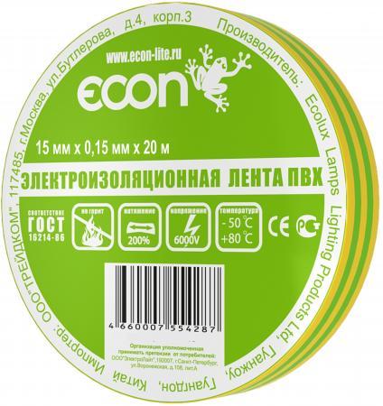 Изолента ECON 15/20, желто-зеленый лампа светодиодная econ 75020