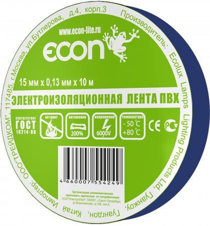 Изолента ECON 15/10, синий лампа светодиодная econ 75020