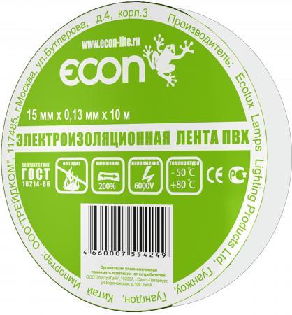Изолента ECON 15/10, белый лампа светодиодная econ 75020